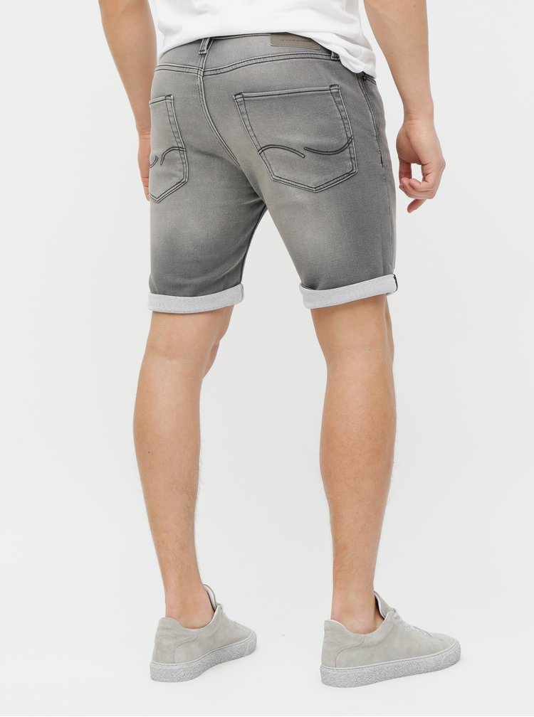 Pantaloni scurti gri regular fit din denim Jack & Jones Rick