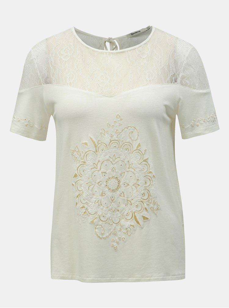 Bílé tričko s potiskem a krajkou Desigual Cannes