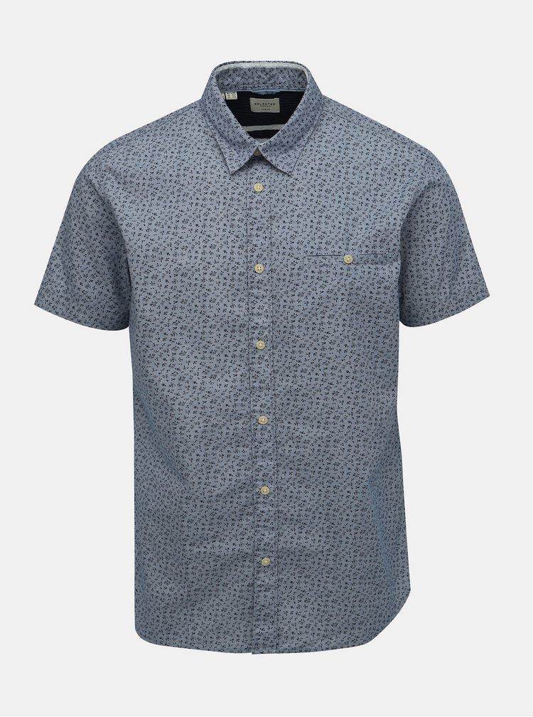 Modrá květovaná slim fit košile Selected Homme Bobby