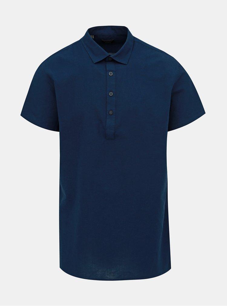 Tmavě modrá regular fit košile s příměsí lnu Selected Homme Regtune
