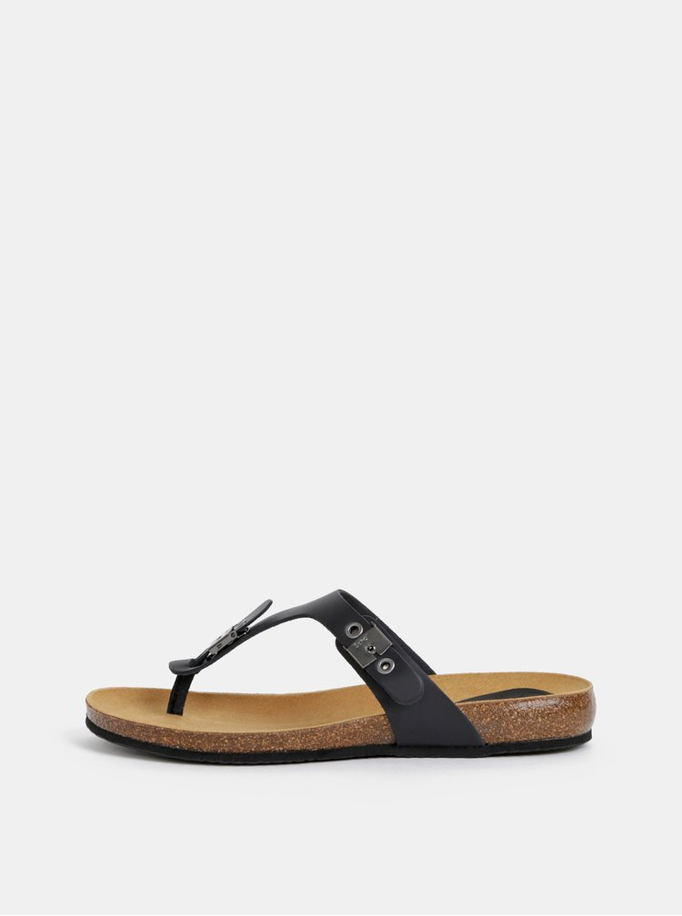 Papuci flip-flop negri din piele Scholl Bimini