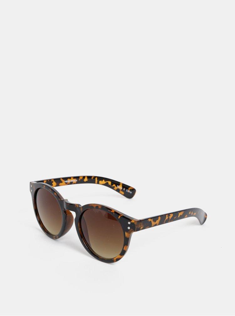 Hnědé vzorované kulaté sluneční brýle VERO MODA Carol