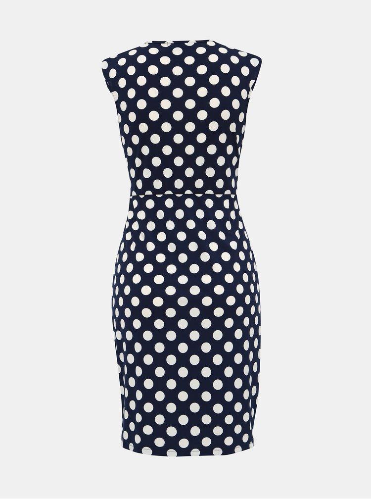 Tmavě modré puntíkované šaty Mela London