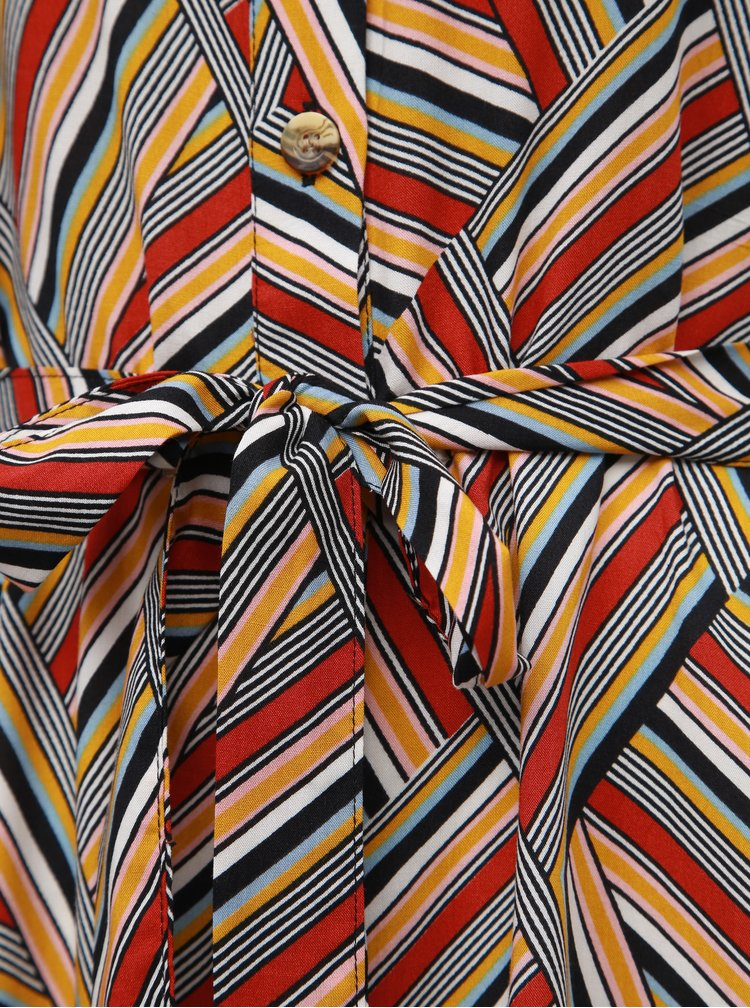 Hnedé vzorované košeľové midišaty Noisy May Baja