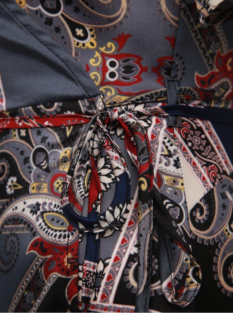 Modro-šedé vzorované zavinovací šaty Mela London