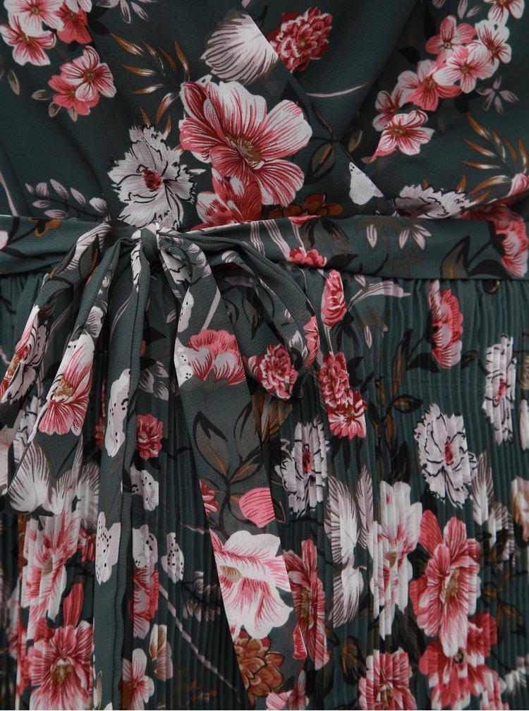 Rochie verde inchis plisata florala ONLY Thea