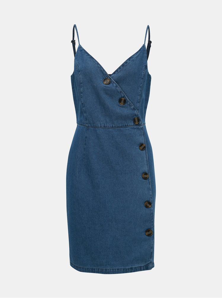 Modré rifľové šaty ONLY Curl
