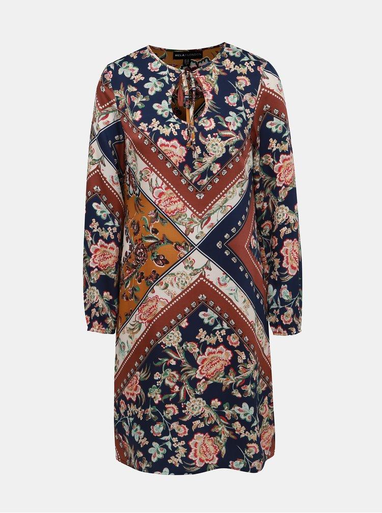 Hnědo-modré vzorované šaty Mela London