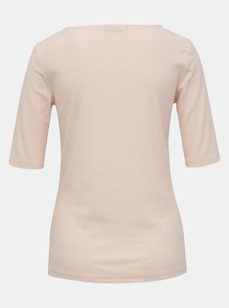 Svetloružové rebrované tričko ONLY Gina