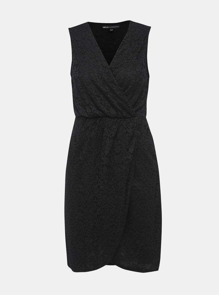 Čierne čipkované puzdrové šaty Mela London