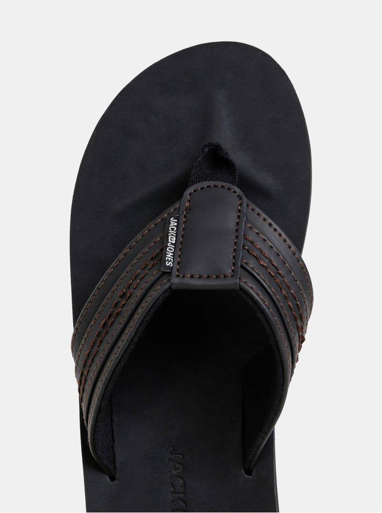 Papuci flip-flop barbatesti negri din piele Jack & Jones Bob