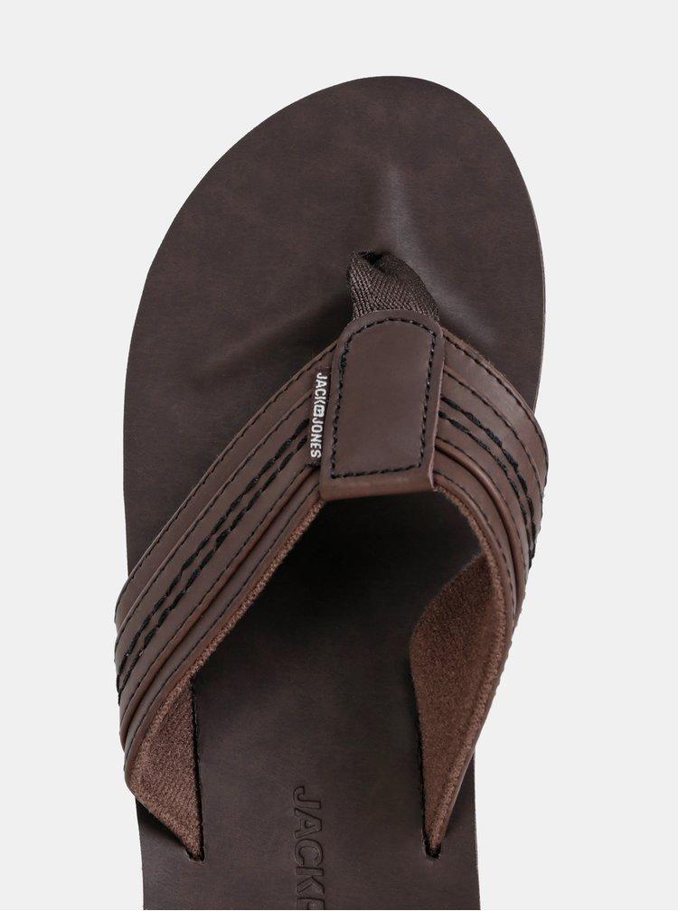 Papuci flip-flop barbatesti maro inchis din piele Jack & Jones Bob