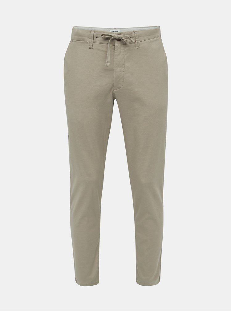 Béžové ľanové nohavice Jack & Jones Marco