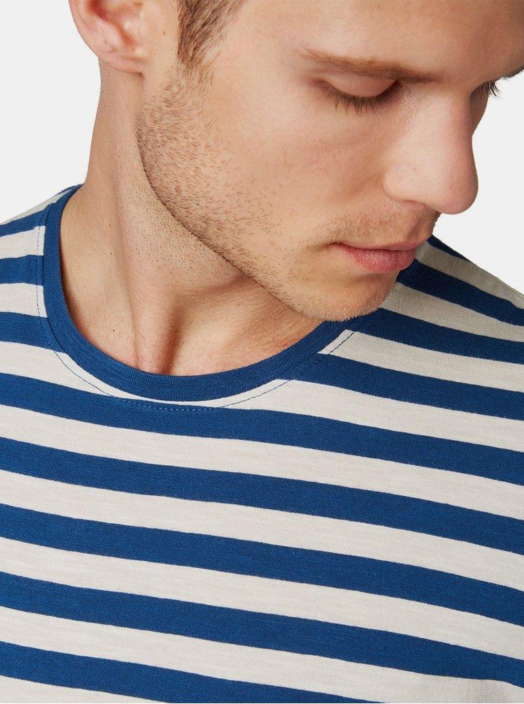 Tricou barbatesc crem-albastru in dungi Tom Tailor