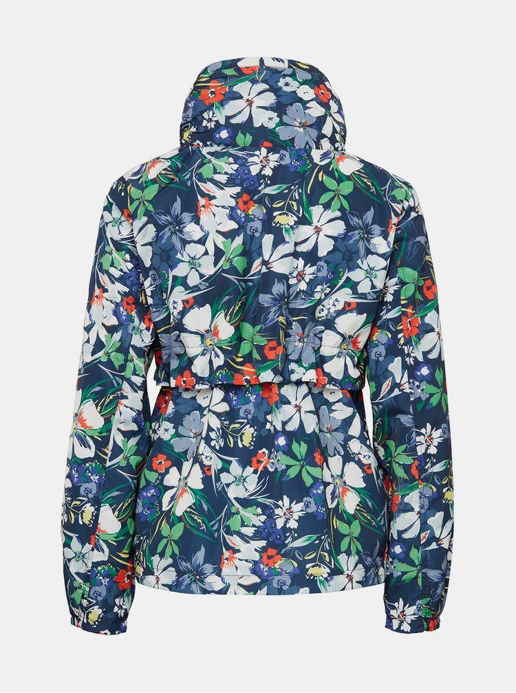 Tmavě modrá dámská květovaná bunda Tom Tailor Denim