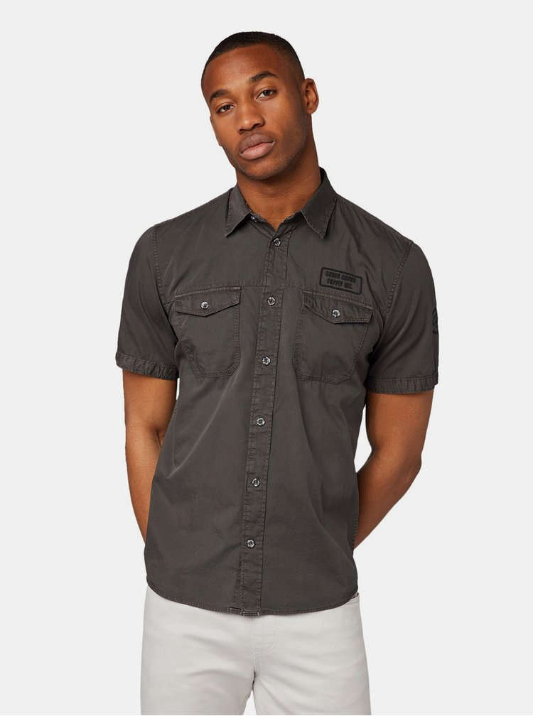 Tmavě šedá pánská regular fit košile Tom Tailor