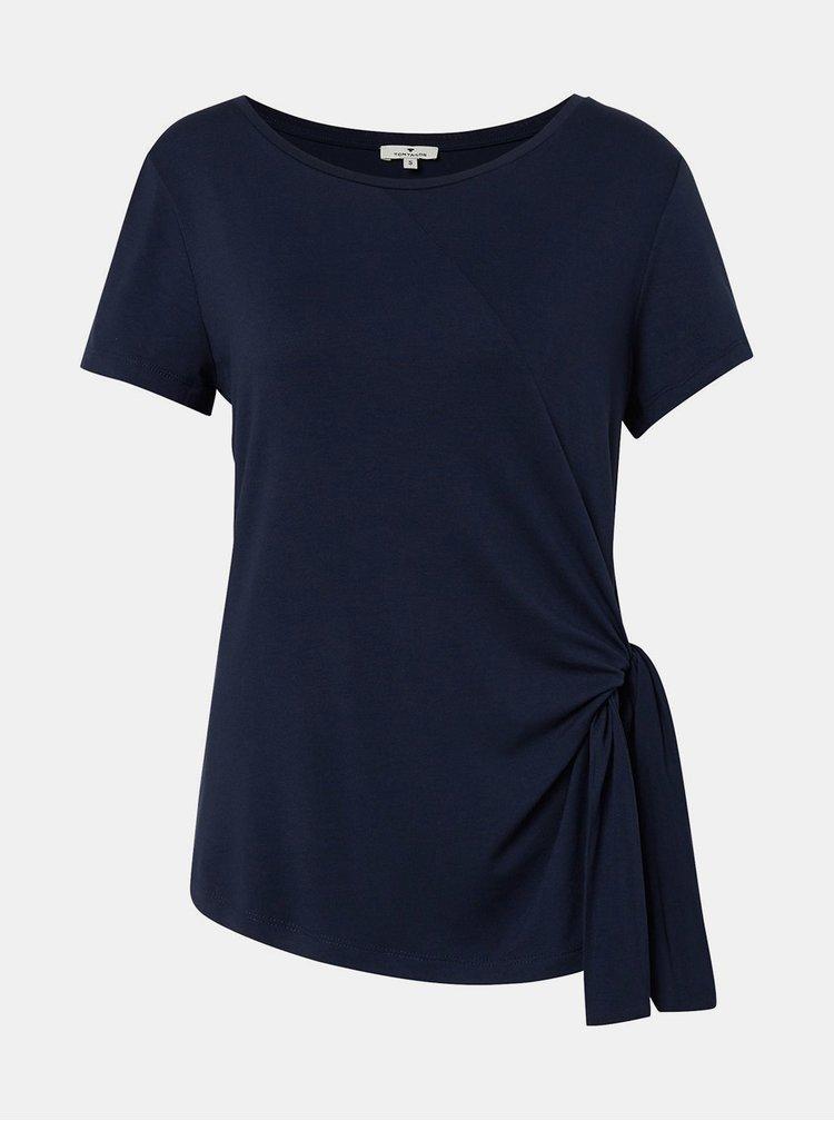 Tmavomodré dámske tričko s uzlom Tom Tailor