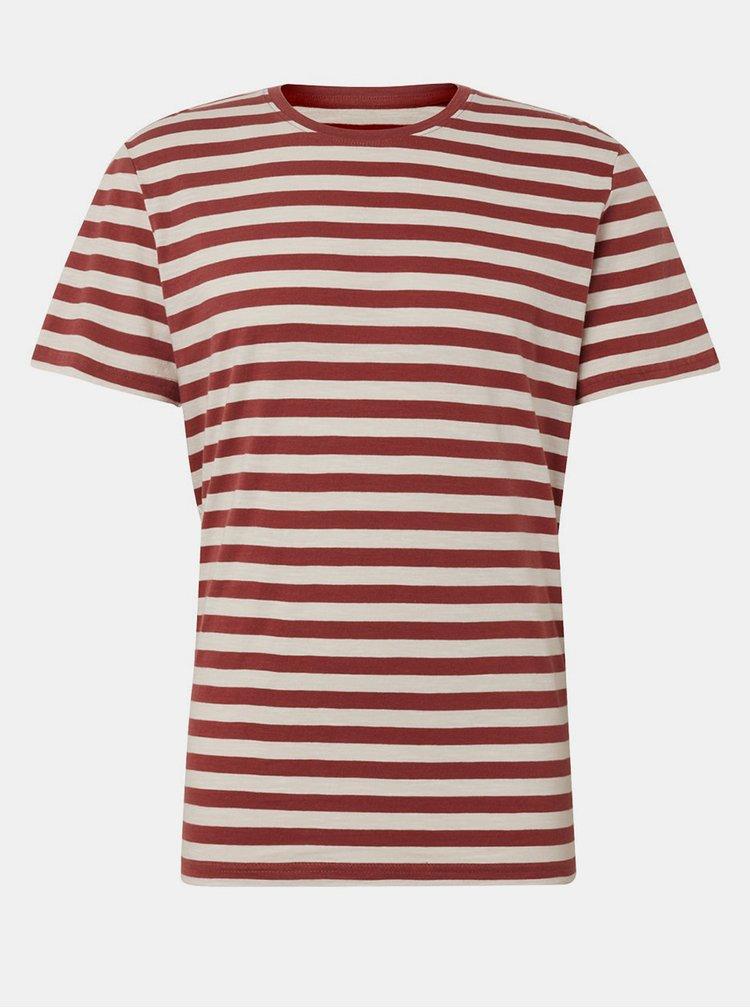 Krémovo-vínové pánské pruhované basic tričko Tom Tailor