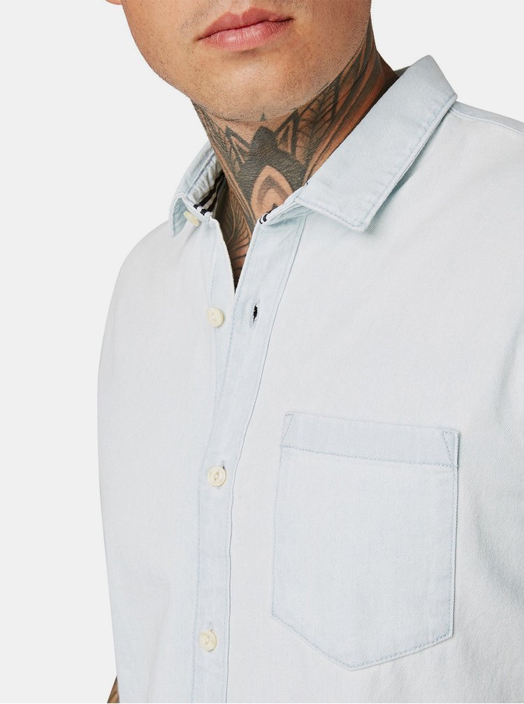 Camasa barbateasca albastru deschis din denim Tom Tailor Denim