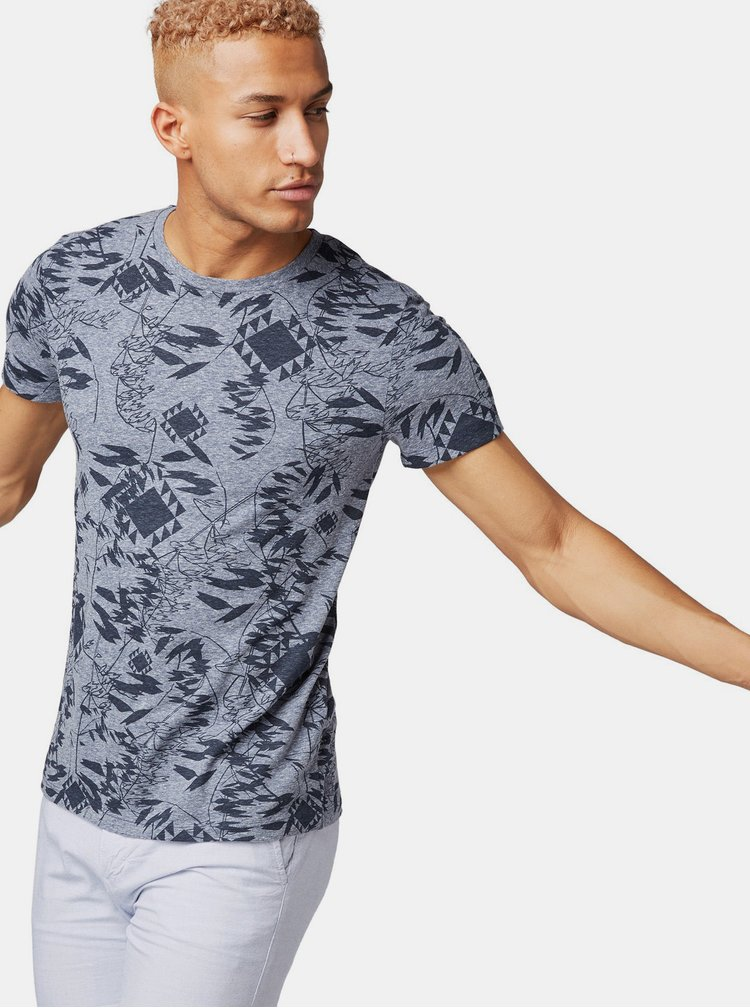 Modré pánské vzorované tričko Tom Tailor Denim