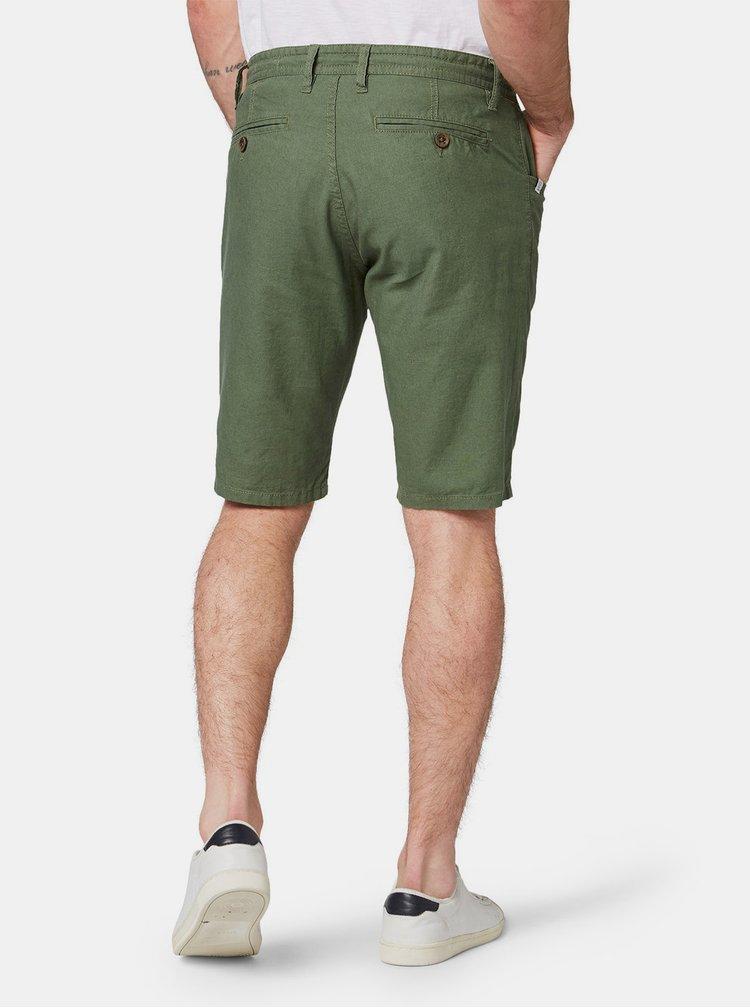 Zelené pánské lněné kraťasy Tom Tailor