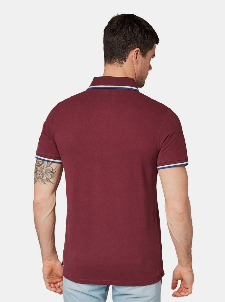 Tricou polo barbatesc bordo cu broderie Tom Tailor