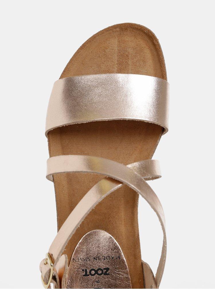 Kožené sandály v růžovozlaté barvě OJJU