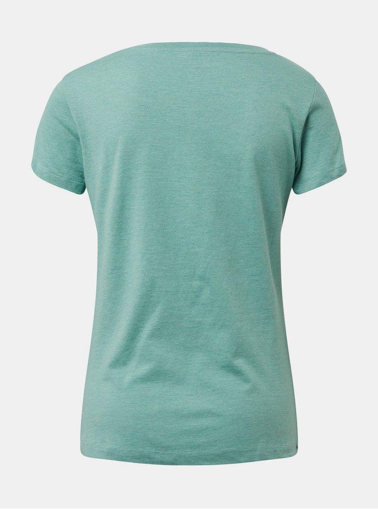 Tricou verde in dungi de dama cu imprimeu Tom Tailor