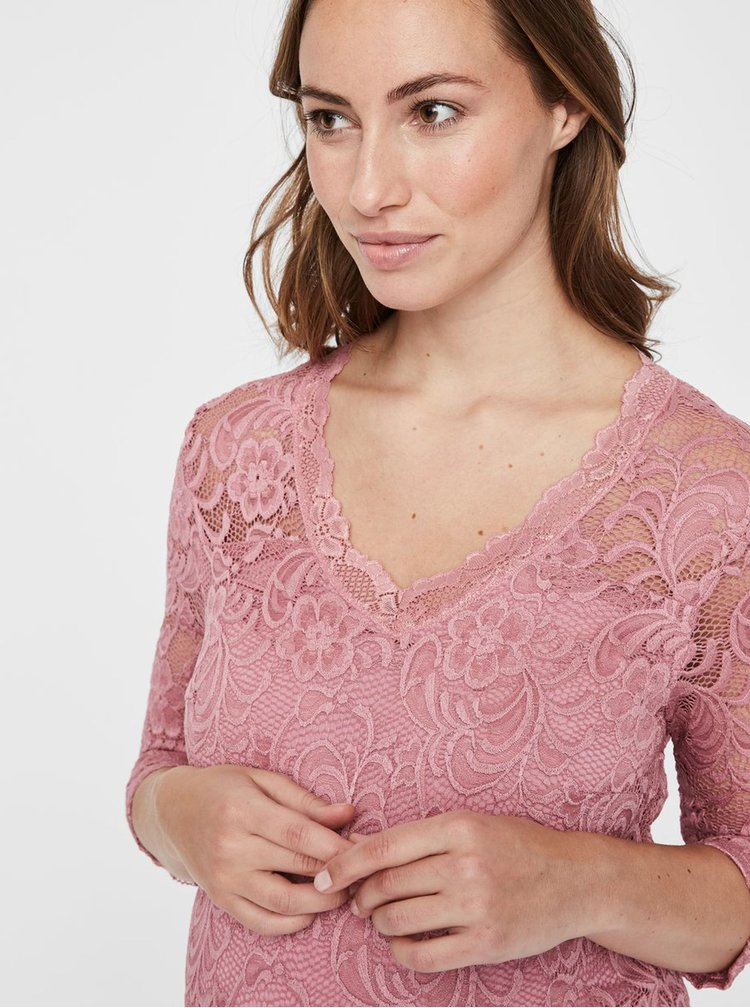 Růžové krajkové těhotenské šaty Mama.licious Mivana