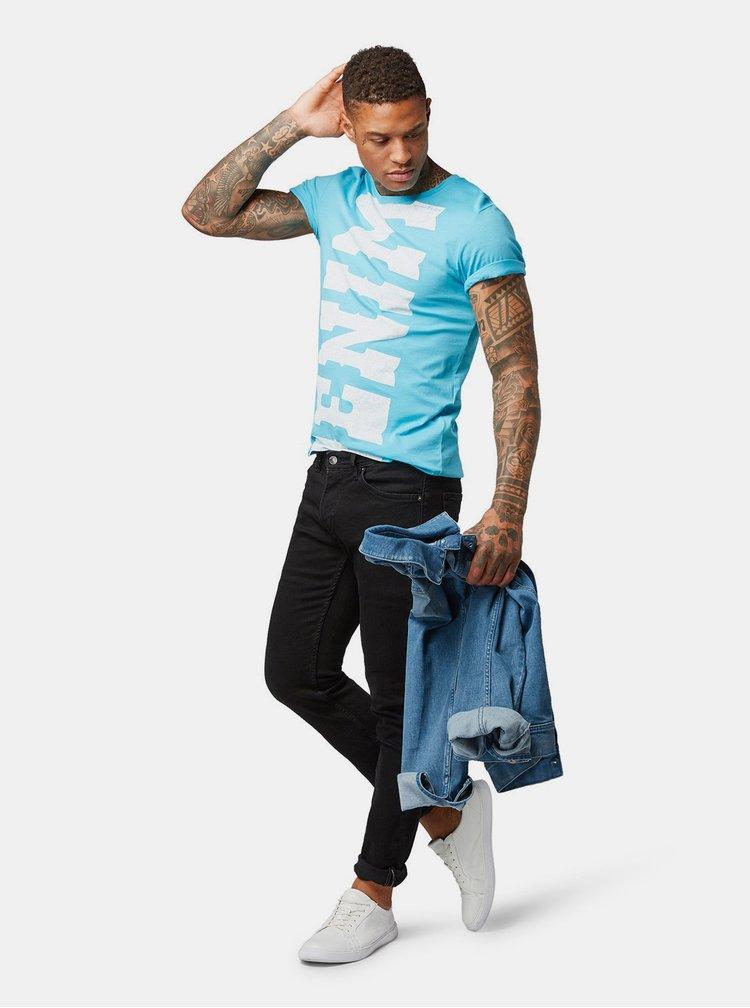 Tricou barbatesc albastru cu imprimeu Tom Tailor Denim