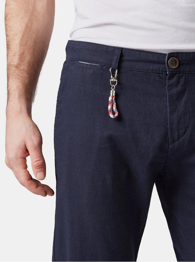 Pantaloni barbatesti albastru inchis regular fit chino din in cu carabine Tom Tailor