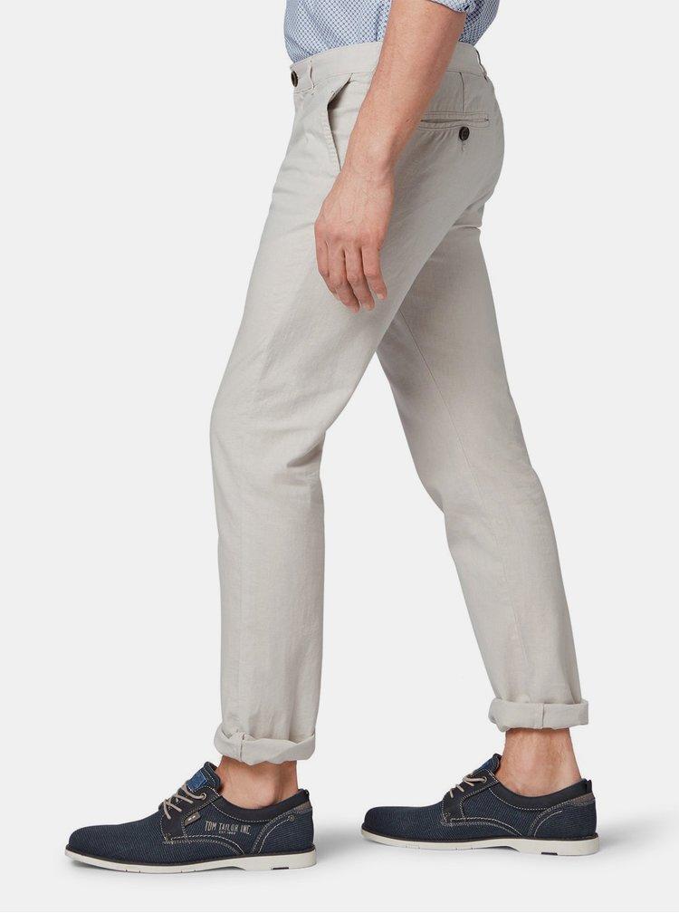 Pantaloni barbatesti gri deschis regular fit chino din in cu carabine Tom Tailor