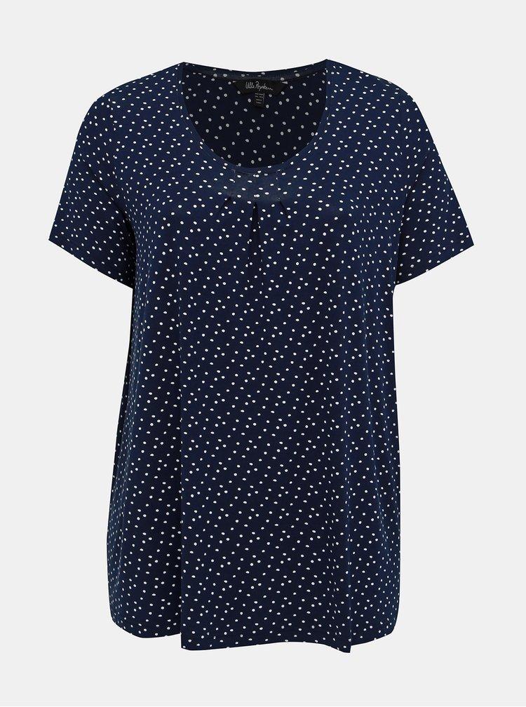 Tricou albastru inchis cu buline Ulla Popken