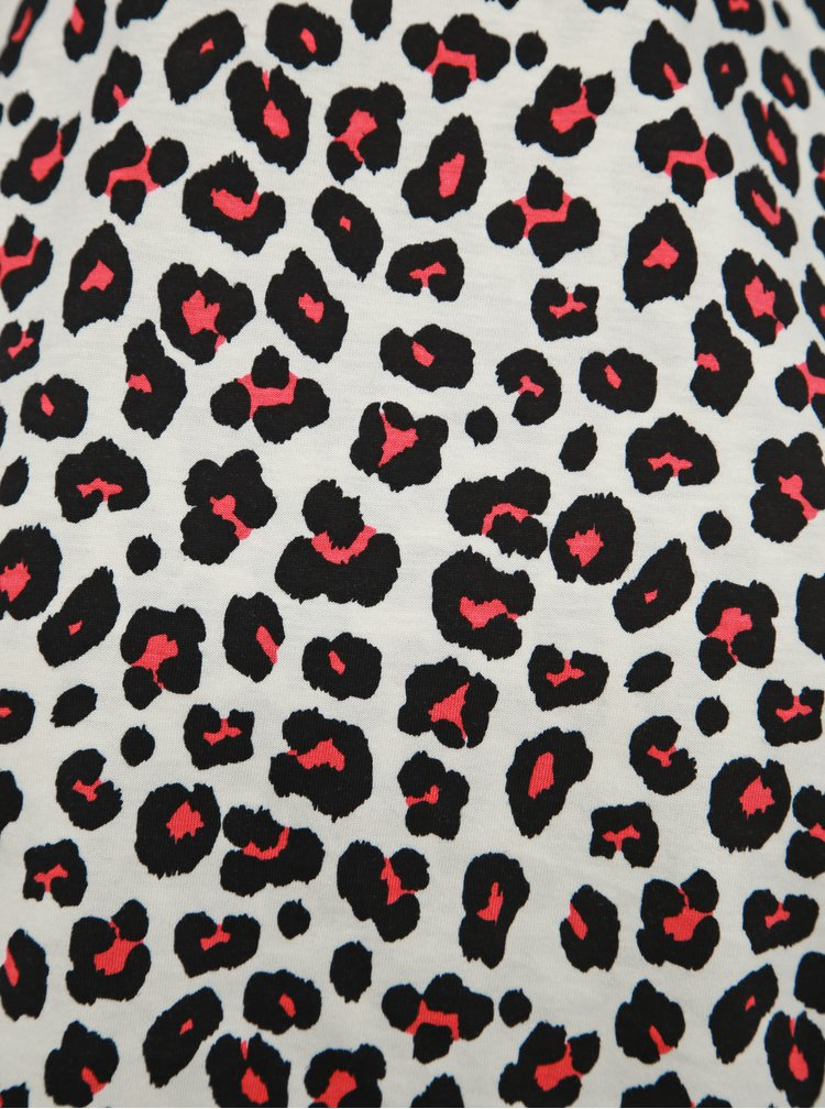 Tricou negru-alb cu motiv leopard Dorothy Perkins