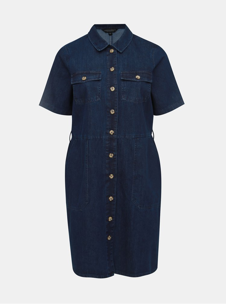 Tmavě modré džínové košilové šaty Dorothy Perkins Curve