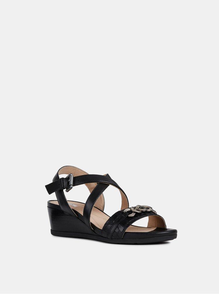 Sandale negre de dama din piele cu platforma wedge Geox Mary Karmen