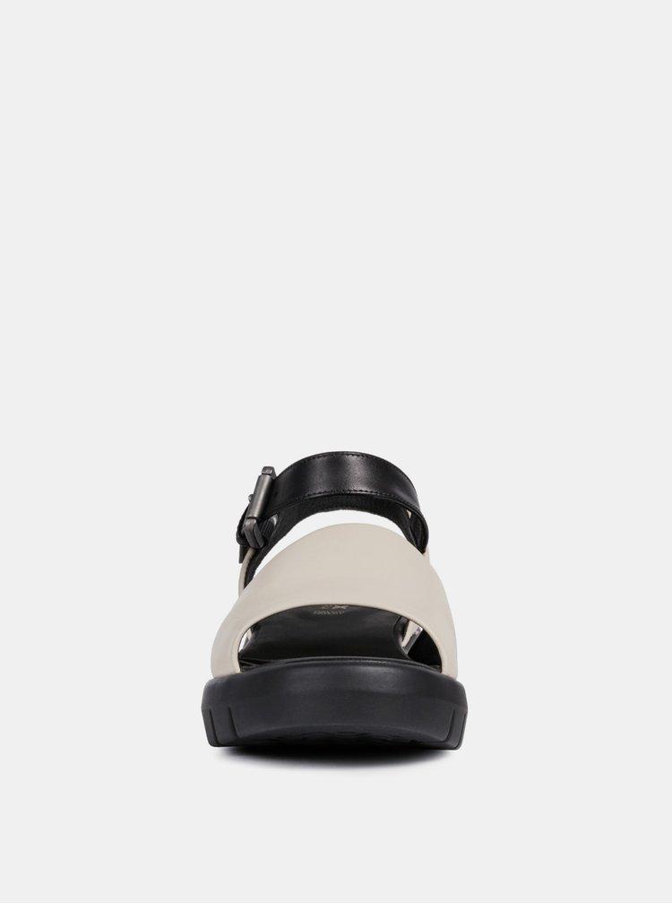 Čierno–krémové dámske kožené sandále na platforme Geox Wimbley
