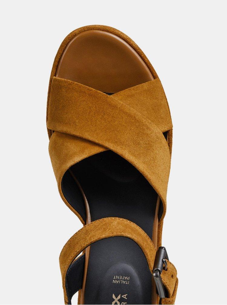 Sandale maro de dama din piele intoarsa cu platforma Geox Zerfie