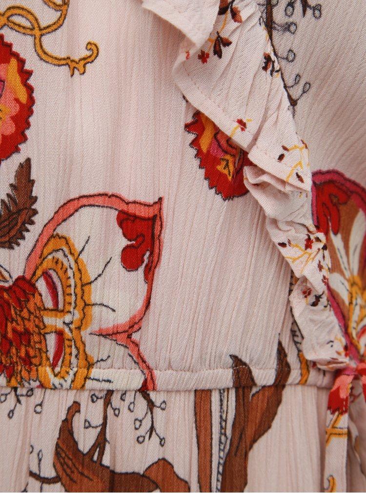 Hnědo-růžové květované šaty s odhalenými rameny Dorothy Perkins