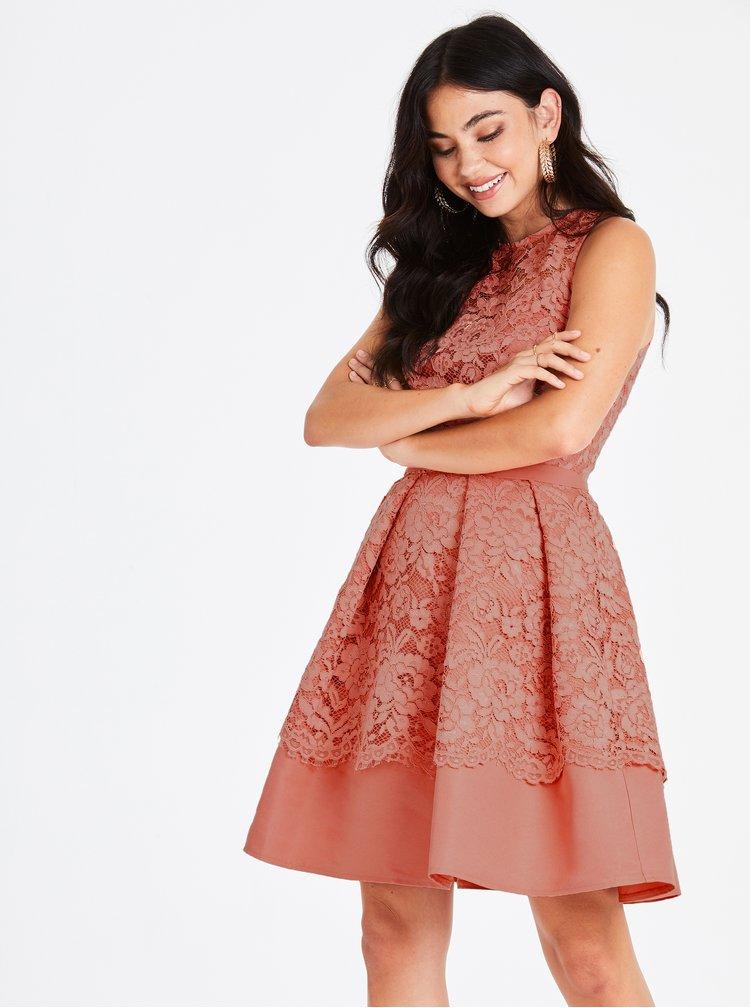 Rochie roz piersica din dantela Little Mistress