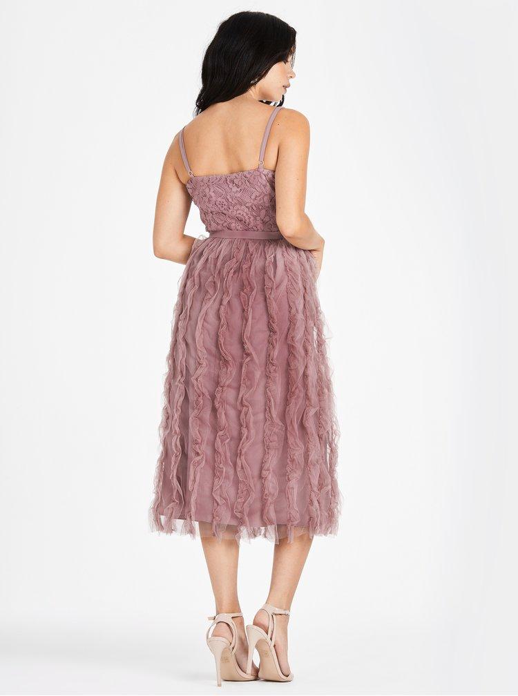 Starorůžové šaty na ramínka s krajkou Little Mistress
