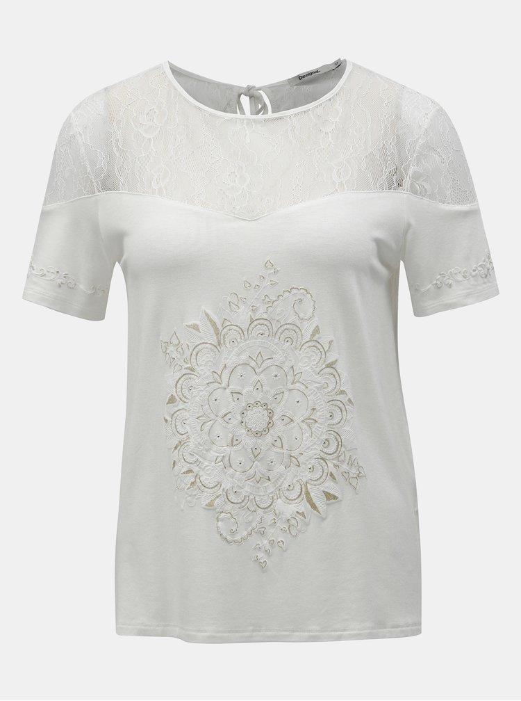 Tricou alb cu imprimeu si dantela Desigual Cannes
