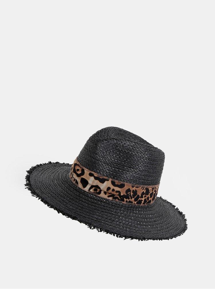 Čierny klobúk so stuhou s leopardím vzorom Dorothy Perkins