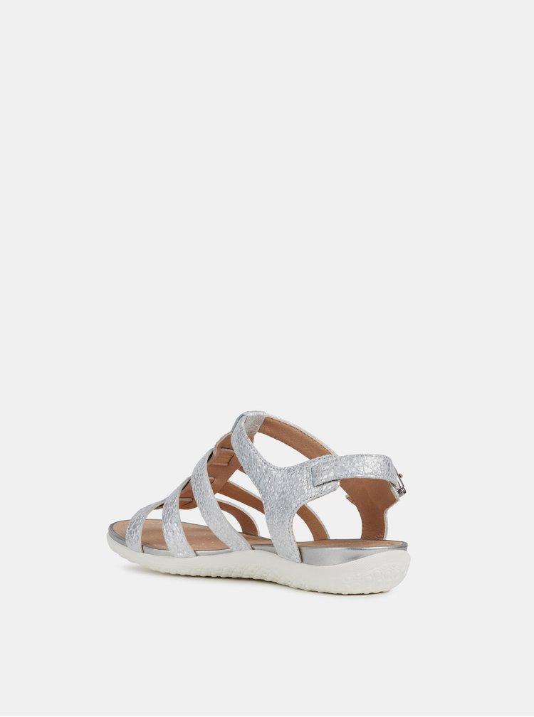 Dámske kožené sandále v striebornej farbe Geox Sand Vega