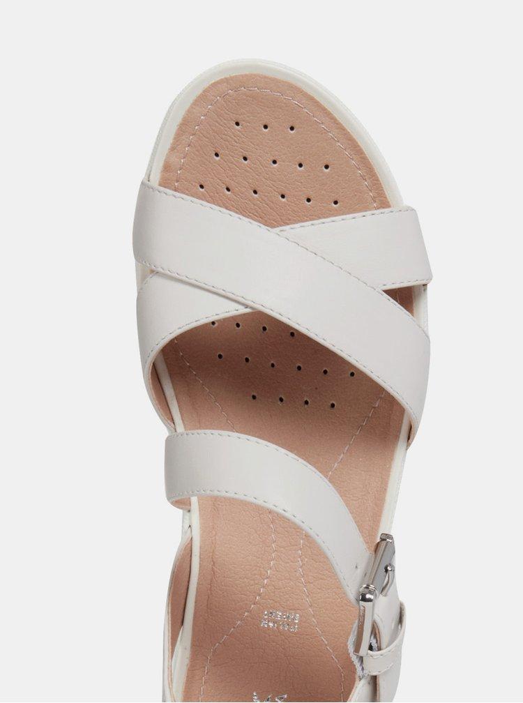 Sandale gri deschis de dama din piele Geox Lea