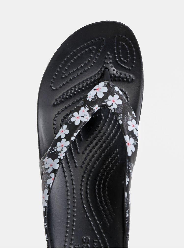 Čierne dámske kvetované žabky Crocs Kadee II