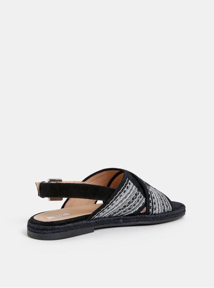 Sandale negre de dama cu paiete Geox Kolleen
