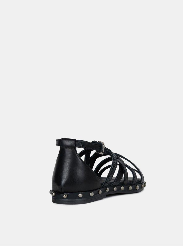 Čierne dámske kožené sandále Geox Kolleen