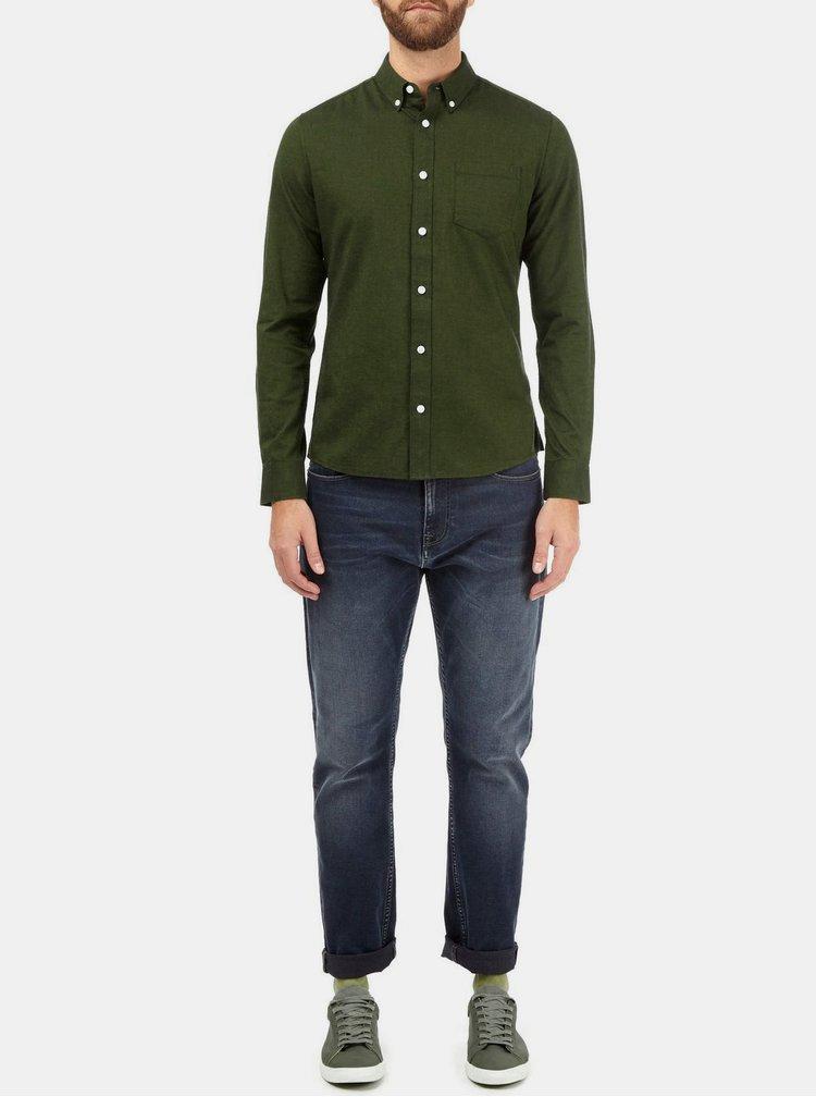 Tmavě zelená skinny fit košile s kapsou Burton Menswear London
