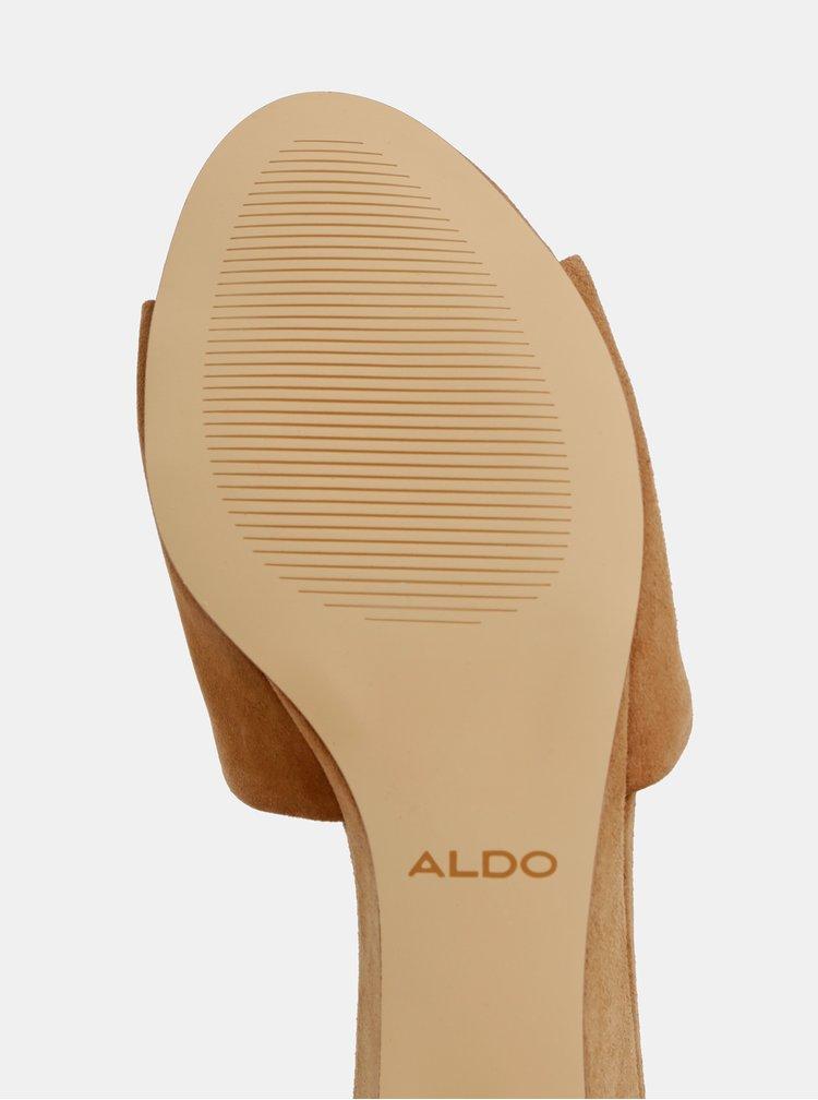 Saboti maro de dama din piele intoarsa ALDO Dengwen